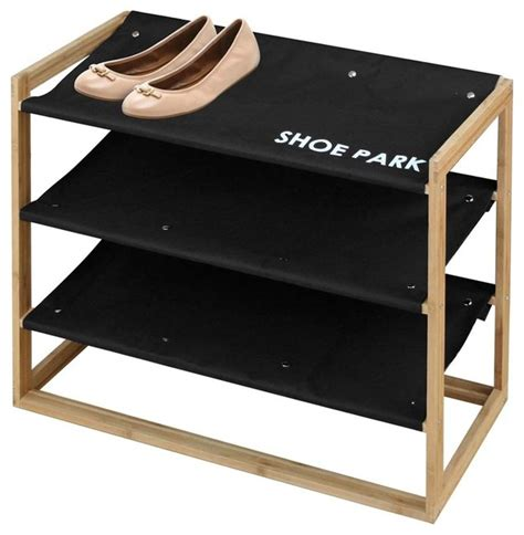 Shoe Rack For by Quot Shoe Park Quot Bamboo And Canvas Shoe Rack