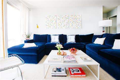 blue sectional sofa living room beach style with cathedral