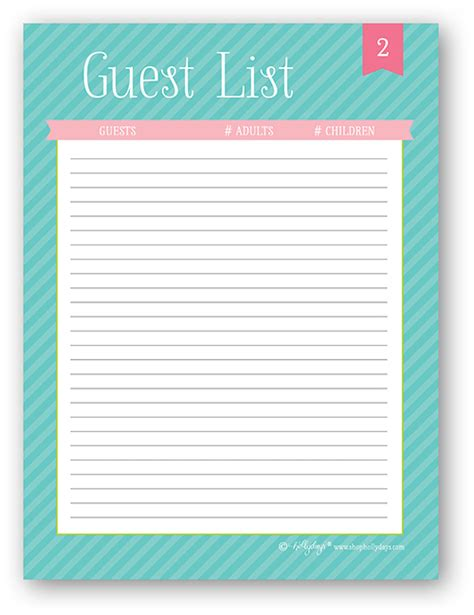 8 best images of free printable guest list sheet free