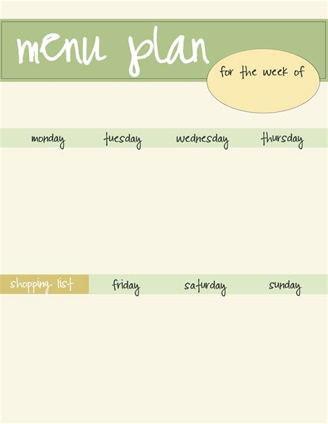 free printable menu template weekly menu plan printable free new calendar template site