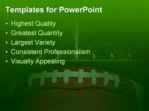 powerpoint football template photo of an american football with the focus on the
