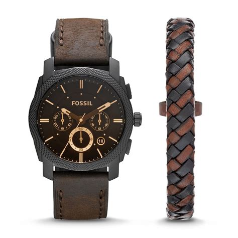 Fossil Black Brown Leather fossil machine chronograph brown leather and bracelet box set malibu mart