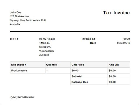 tax invoice template 16 tax invoice template free documents in word