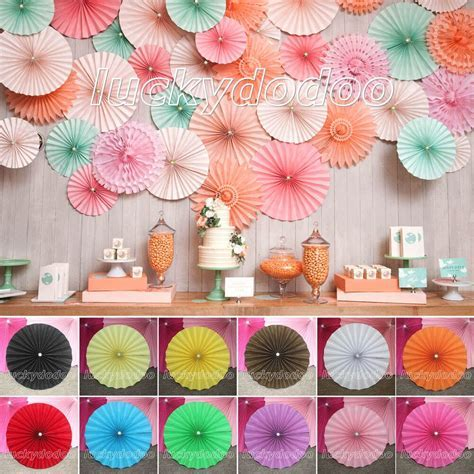 Paper Flowers Wheel Fans Background Wedding Birthday Party