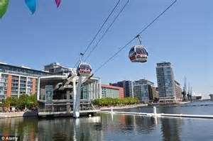 river thames zip wire emirates air line cable car across the thames used by