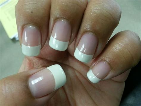 easy nail art with gelish french tips with gelish quot simple sheer quot and quot snow bunny