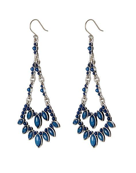 Bead Chandelier Earrings Lucky Brand Blue Beaded Chandelier Earrings In Silver Lyst