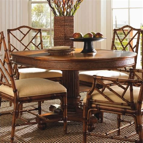 Dining Room Island Tables Island Estate Cayman Pedestal Casual Dining Table In Plantation Finish 01 0531 870