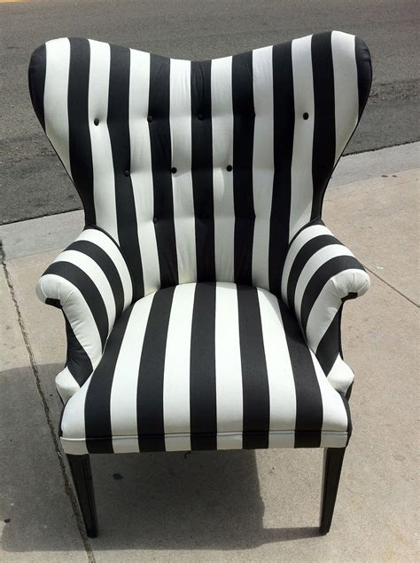 black and white striped home decor black and white striped chair by poeticrockstar on etsy