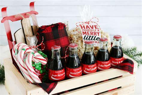 coca cola christmas gift basket idea free printable tags