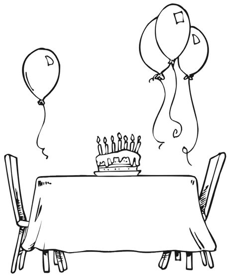 birthday coloring pages pdf birthday coloring page a table set for a party