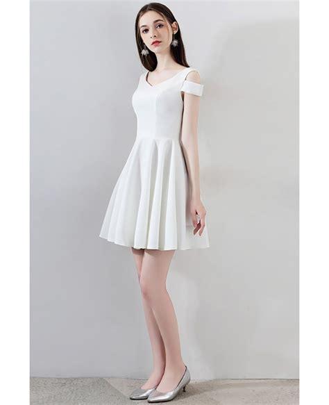 simple  white short homecoming dress aline mxl