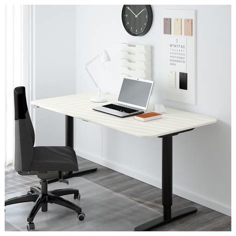 Bekant Desk Sit Stand White Black 160x80 Cm Ikea Black White Desk