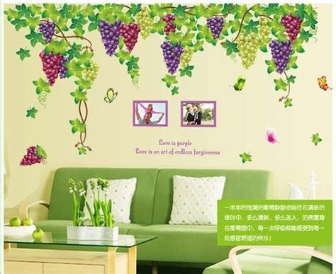 Kitchen Wall Art Ideas by Grape Vine Wall Stickers Decor Living Room Wall Decals