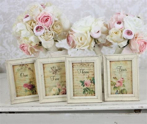 shabby chic table numbers with distressed frames vintage rustic wedding