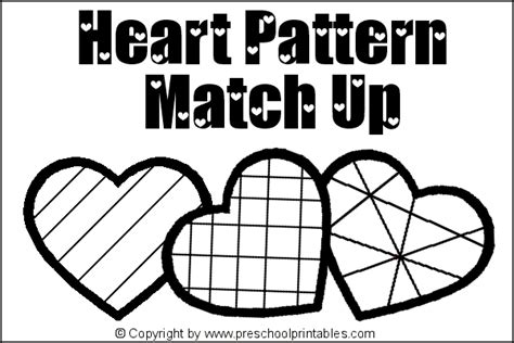 heart pattern match up www preschoolprintables com file folder game heart