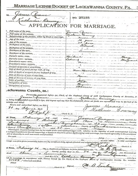 Lackawanna County Pa Marriage Records Ruane Marriages In Lackawanna County Pa