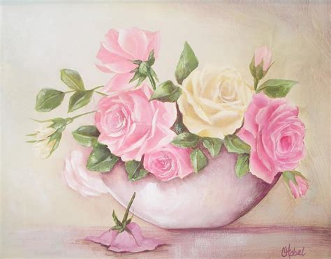 vintage roses shabby chic roses painting print by chris hobel