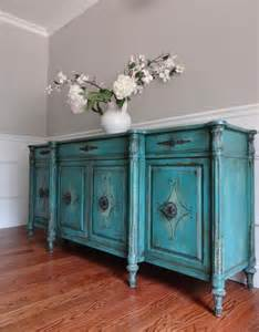 Turquoise Buffet Table Vintage Painted Country Vintage Turquoise