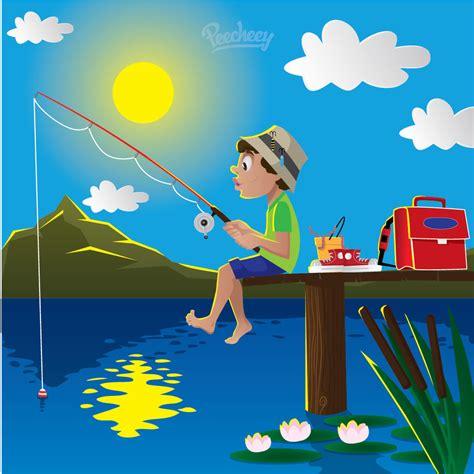 cartoon boat on lake boy fishing on lake cartoon free vector