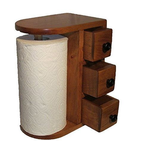 How To Make A Wooden Paper Towel Holder - amish handcrafted wooden paper towel holder station with 3