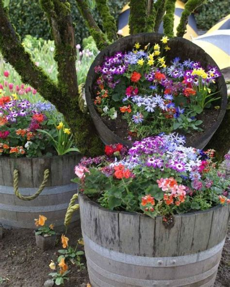 Flower Planters by Rustic Wine Barrel Flower Planters