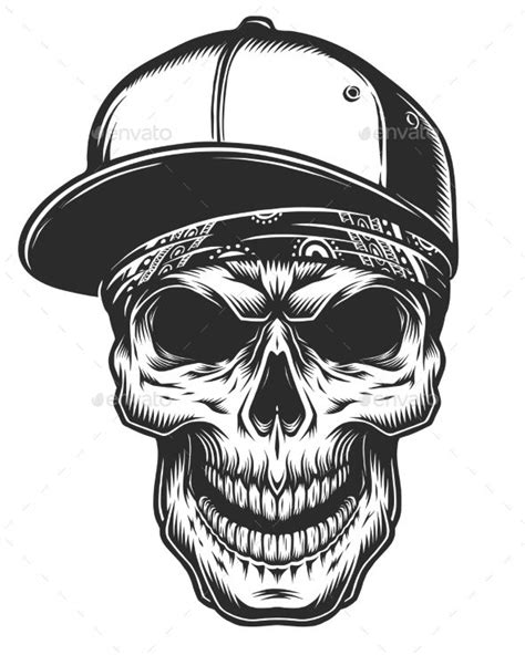 skull bandana tattoo designs illustration of skull in bandana and baseball cap