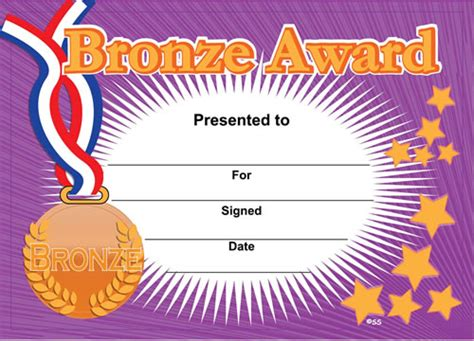 bronze award sports certificates