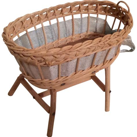 Antique Wicker Crib by Vintage Wicker Doll Or Dollhouse Miniature Baby Bed Crib