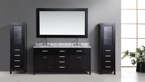 72 Quot London Double Sink Vanity Set In Espresso With Two Bathroom Vanities With Matching Linen Cabinets