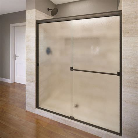 Obscure Shower Door Basco Classic 60 In X 70 In Semi Frameless Sliding Shower Door In Rubbed Bronze With