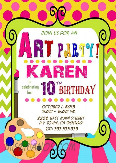 paint with a twist birthday invitation birthday paint mis2manos