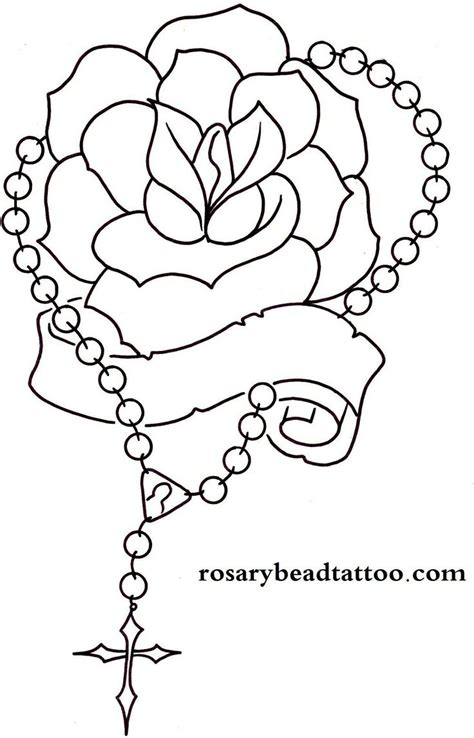 rose with rosary tattoo designs rosary drawings banner rosary