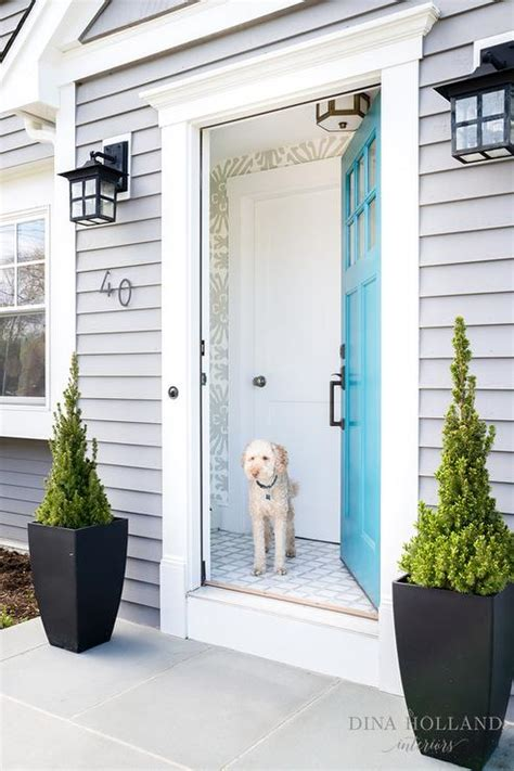 Blue Gray Front Door Blue Front Door With Gray Shingled House Transitional Home Exterior