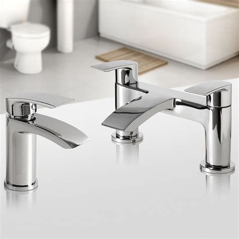 bathroom tap modern chrome bathroom tap set basin mixer bath filler taps deck mounted tp456 ebay