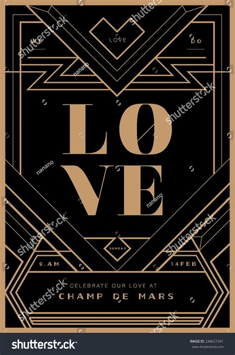 deco templates deco border wedding invitation template vector