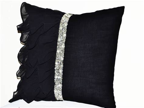 black bed pillows black ruffled sequin throw pillow 18x18 decorative pillow