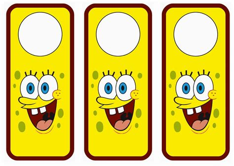 spongebob door hangers birthday printable