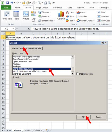 excel tutorial word document tom s tutorials for excel inserting a word document onto