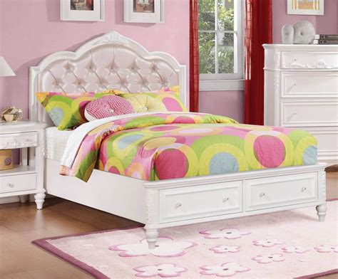 pretty white pink footboard storage youth bed