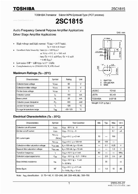 datasheet transistor c1815 c1815 41535 pdf datasheet ic on line