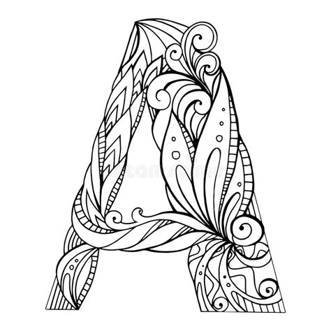 black and white pattern letter black and white freehand drawing capital letter a stock