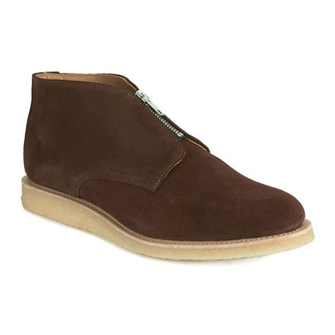 s crepe sole boots ymc s crepe sole zip front suede chukka boots brown