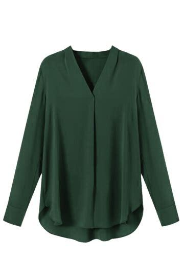 Azeanita Plain Longsleeve Blouse womens chiffon v neck sleeve plain high low blouse green pink