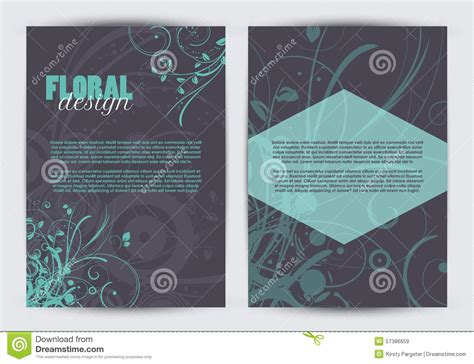 double sided floral design flyer template stock vector i