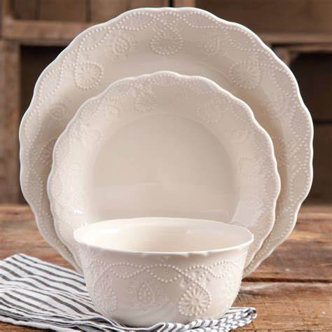 Elegant Kitchen Canisters The Pioneer Woman Cowgirl Lace 12 Pc Dinnerware Set White