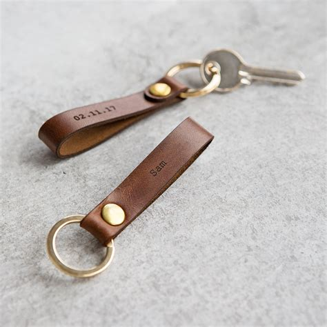 Leather Keyring personalised leather loop keyring by create gift