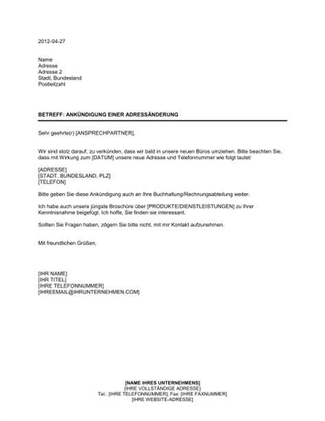 Vorlage Schreiben Umzug Firma Ank 252 Ndigung Einer Adress 228 Nderung Vorlagen Und Muster Biztree