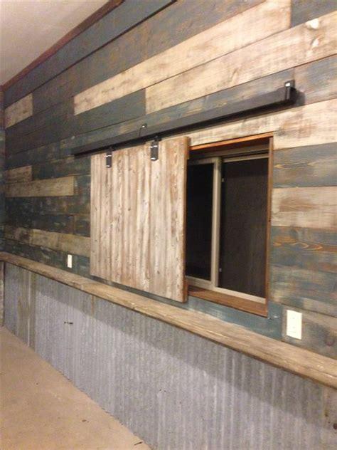 garage man cave  reclaimed barn wood  door