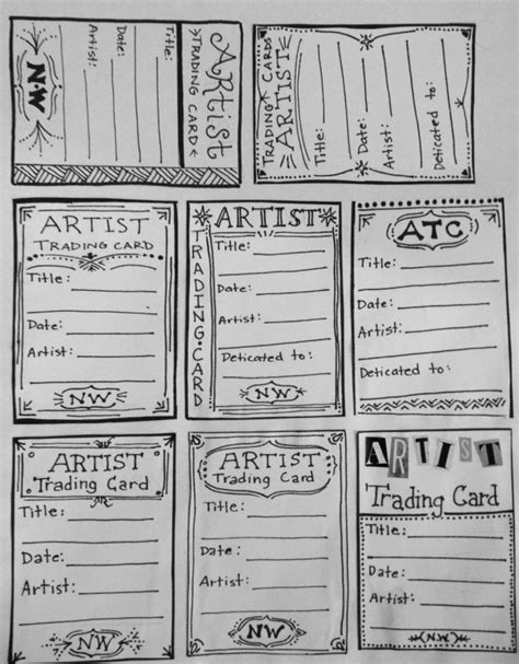 artist trading cards template the creative arts club artist trading card cac wk